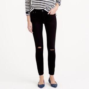 J. Crew Toothpick skinny black distressed jeans